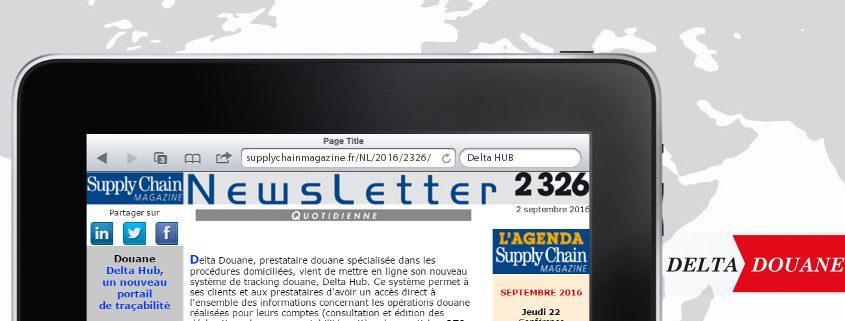 """Le nouveau portail Delta HUB de Delta Douane dans la newsletter n°2326 de """"Supply Chain Magazine"""""""