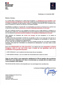 BREXIT : courrier officiel des douanes