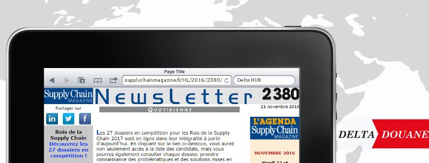 "Delta Douane dans la newsletter n°2380 de ""Supply Chain Magazine"""